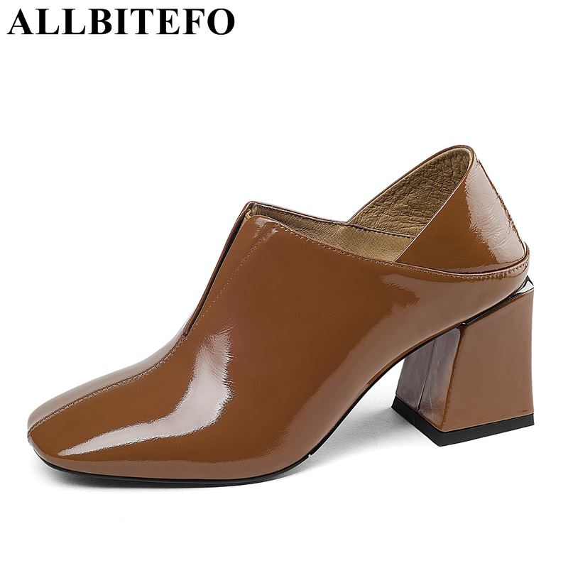 ALLBITEFO New Fashion Brand Genuine Leather Thick Heel Women Pumps Office Ladies Shoes Spring High Heels Women Party Shoes