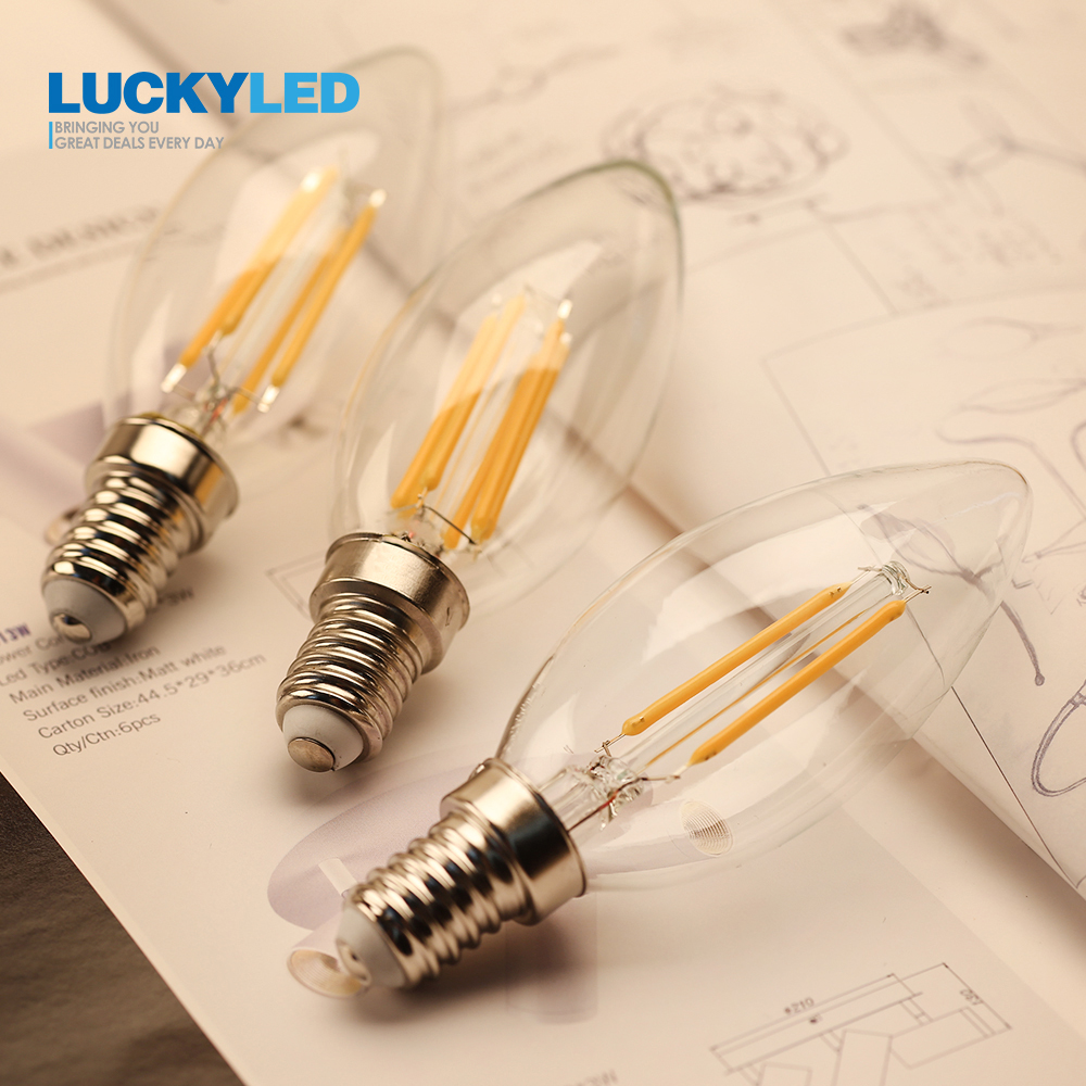 LUCKYLED E14 Led Candle Bulb Light 2W 4W 6W 220V 240V Dimmable Vintage Filament Lamp E12 110V Edison Bulbs For Indoor Lighting dimmable led filament candle light bulb e14 220v 240v 2w 4w 6w c35 c35l vintage edison bulb for chandelier cold warm white