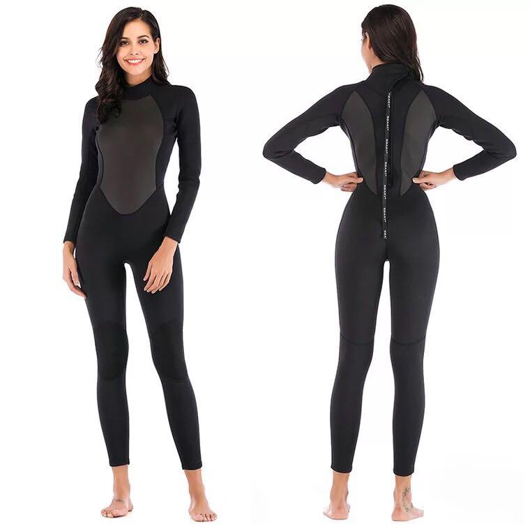Combinaison femme 3mm néoprène surf plongée sous-marine plongée en apnée combinaison de natation solide noir/gris à manches longues combinaison humide fermeture à glissière arrière