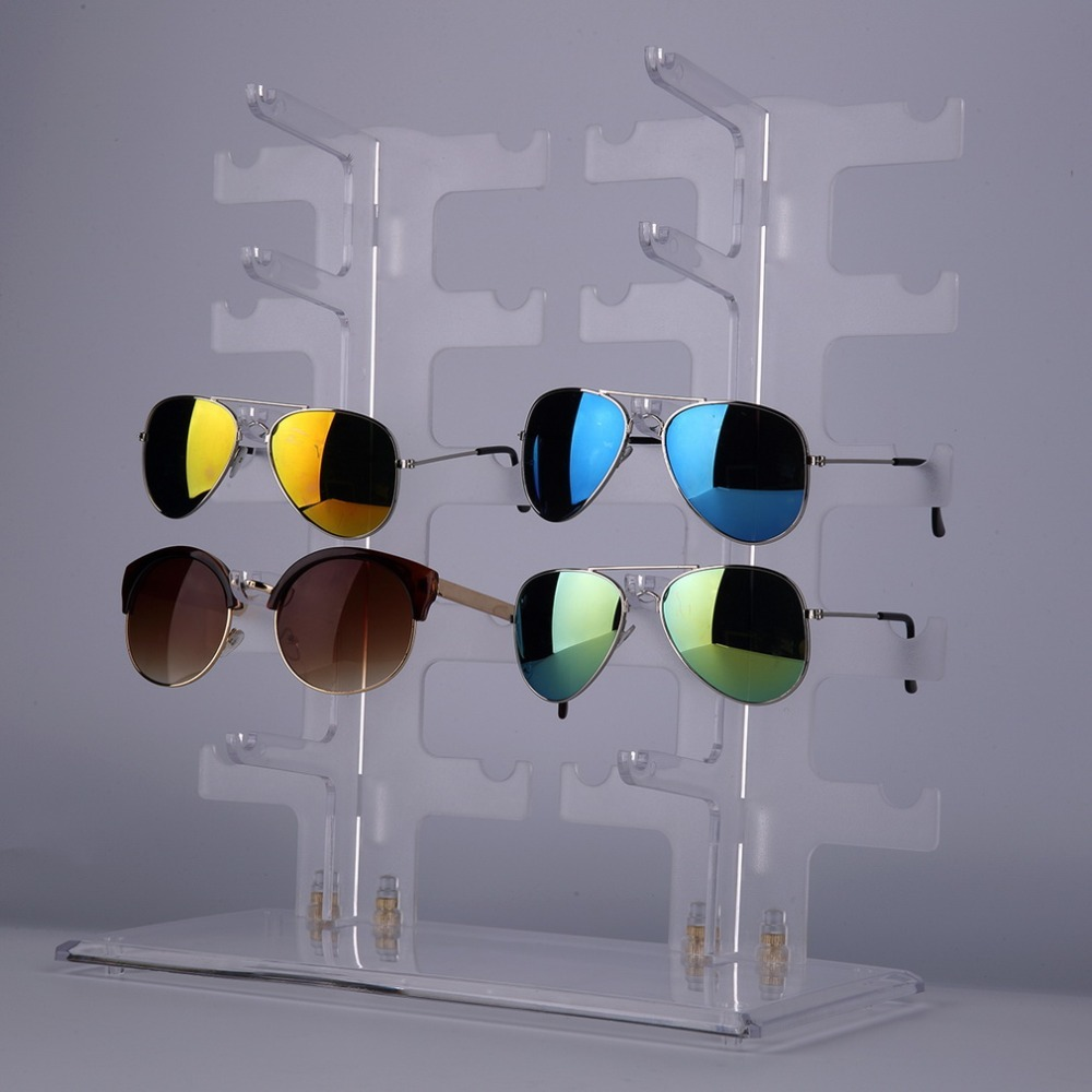 New Top Qualiy 2 Row 10 Pairs Sunglasses Glasses Rack Holder Frame Display Stand Transparent Jewelry dispaly shelf hot selling