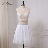 ADLN High Quality White Cocktail Dresses Applique Pearls Beads Short Cocktail Party Gowns Lace Little White Dress