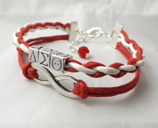 Delta sigma theta sorority infinity bracelet handcrafted for Delta sigma theta jewelry