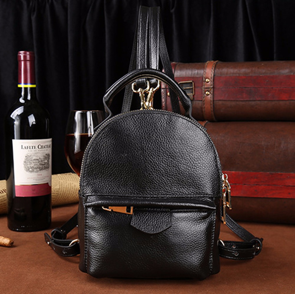 100% Genuine Leather Women Ladies Rucksack Hand Bag Luxury Retro Designer Shopping Female Cowhide Small Tote Bag Real Backpack