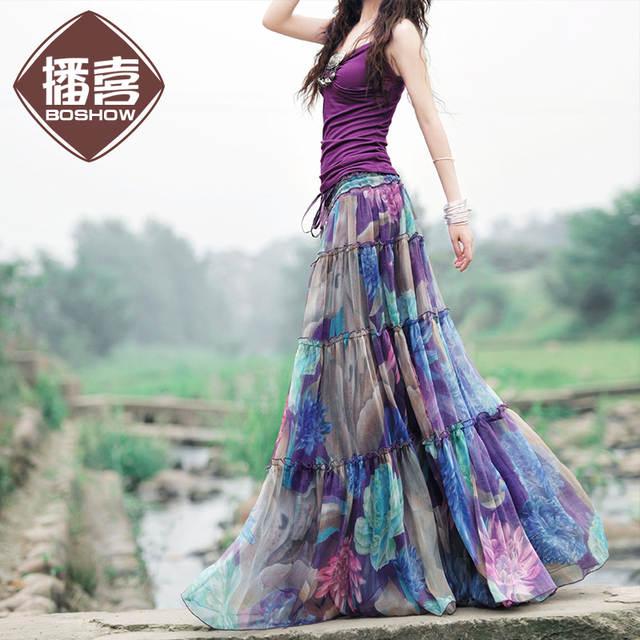 placeholder Free Shipping 2019 Boshow Fashion Long Chiffon Skirt Floral  Printed Maxi Boho Skirts For Women Plus 97c9a2314b1b