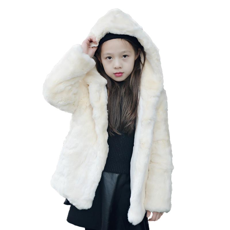 Baby Girl Jacket 2018 New Winter Real Rex Rabbit Fur Cotton Thicken Long Sleeve Party Wedding Jacket Girl Child Clothing