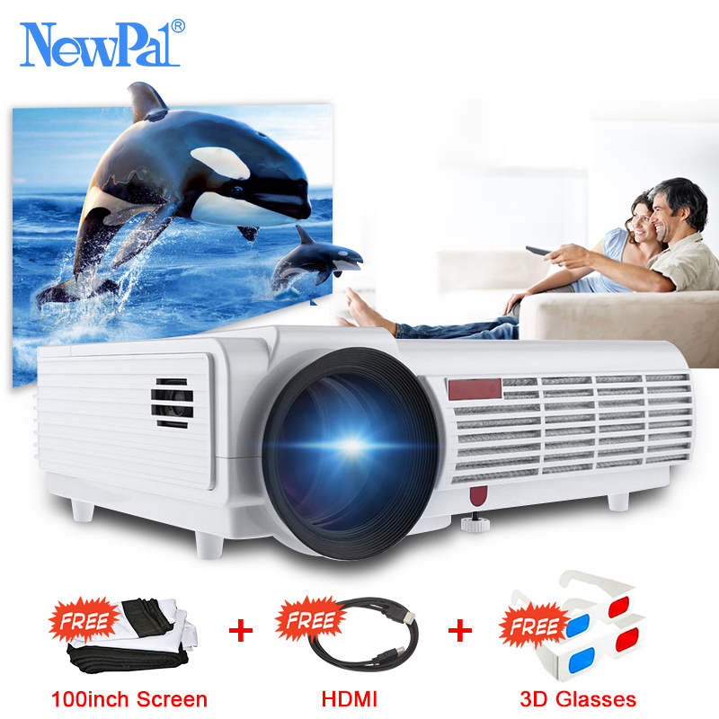 NewPal 5000Lumens Home Projector Support 1920*1080P Video Android WIFI 3D Projector LED 96 with Free 100inch Screen 3D Glasses