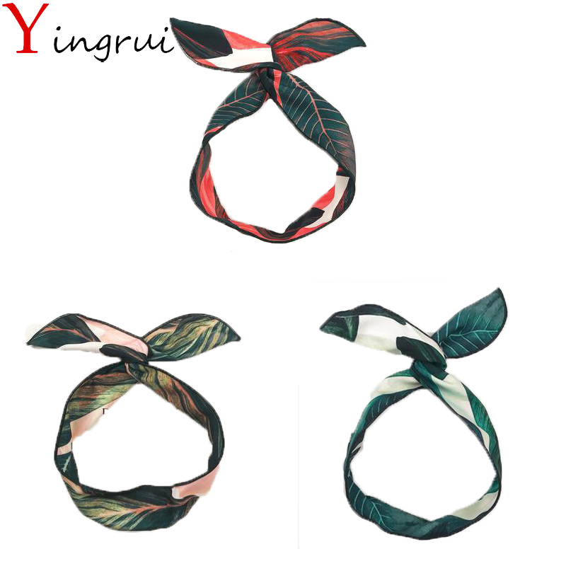 Women Heaband Bohemia Rabbit Ears DIY Metal Wire Bow Girls Hairband Leaf Print Headwear  ...
