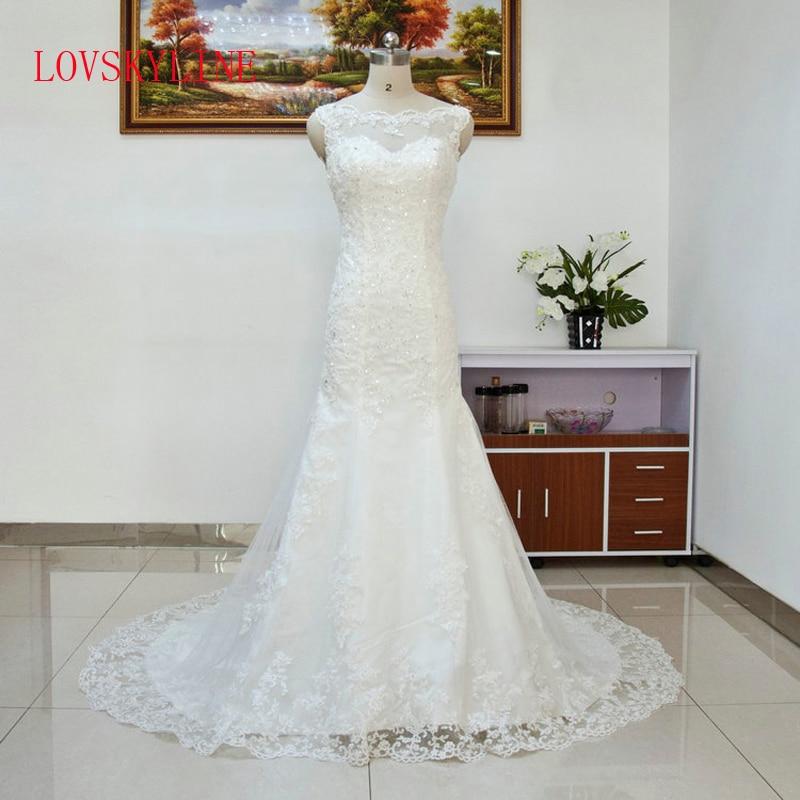2018 Sexy Lace Mermaid Style Wedding Dresses fish Tail Plus Size Vestidos Bridal Wedding dress Vestido de Novia