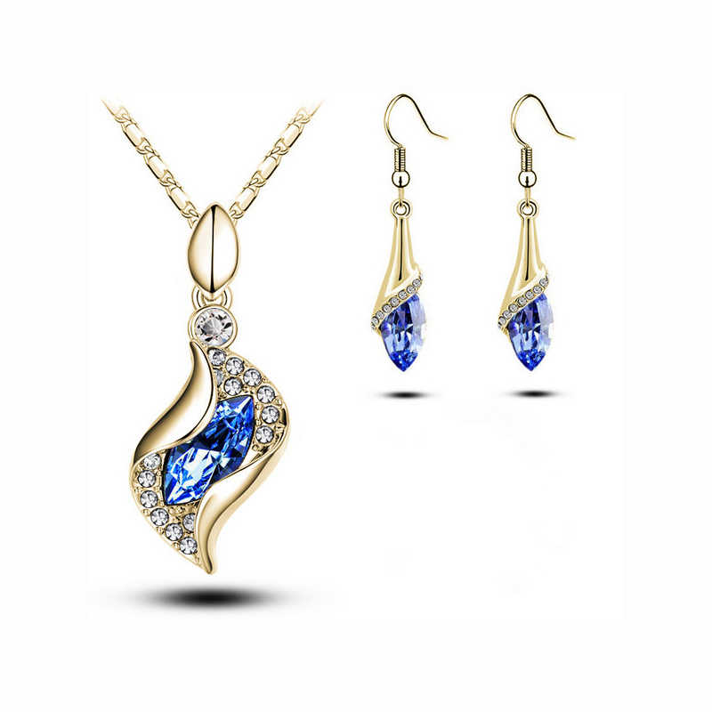 Mieehoo 100 store Newest European and American accessories set full of glass horseshoe crystal earrings necklace set