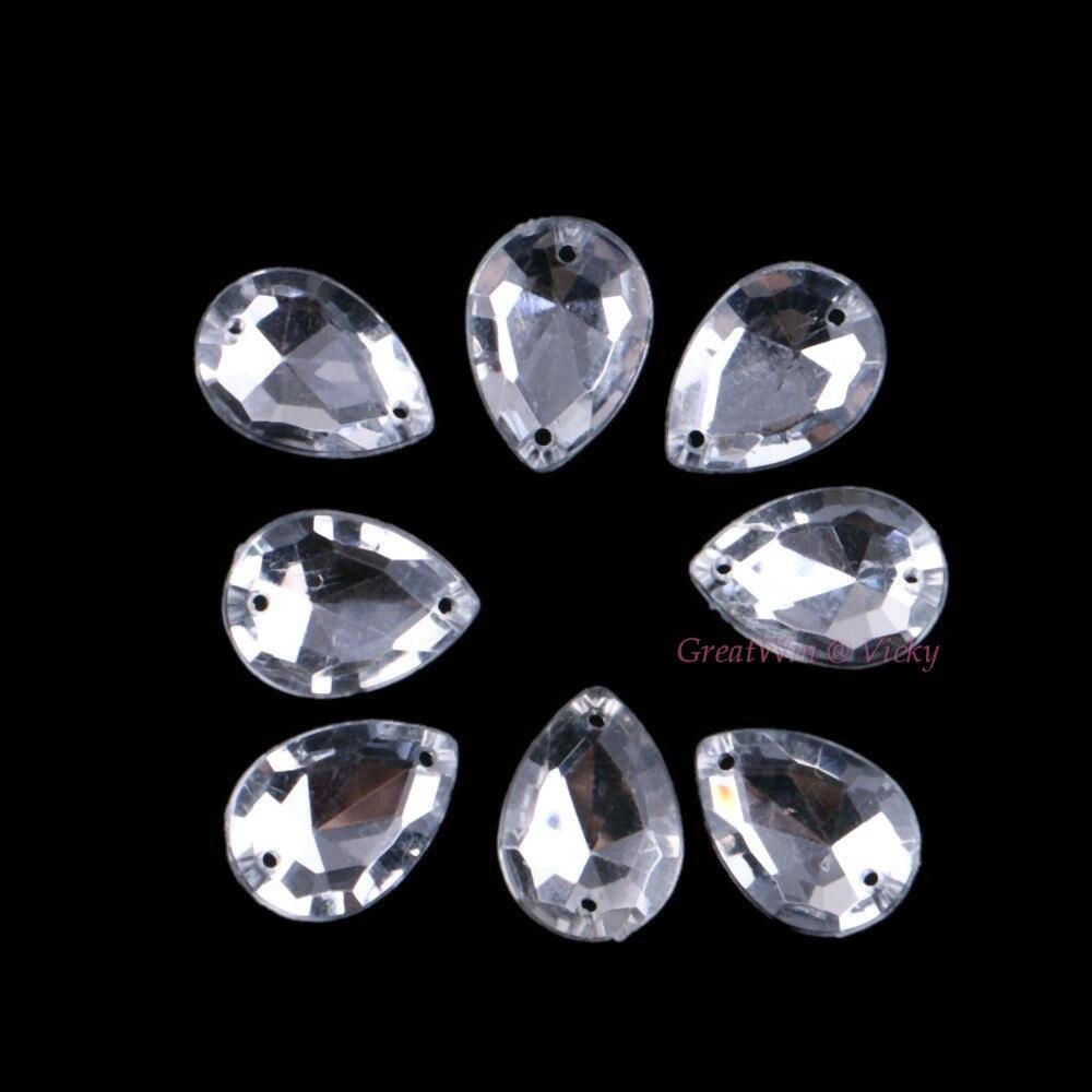 13×18 мм Teardrop Вышивание на акрил кристаллы шить на горный хрусталь Бисер для швейных изделий DIY Ювелирные изделия из кристаллов Камни 2 отверстия 30 шт./упак.