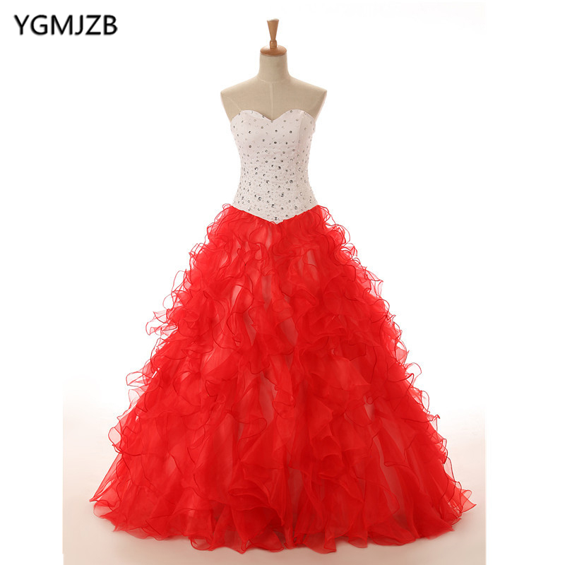 Vestidos De 15 Anos Red White Quinceanera Dresses Prom 2018 Sweetheart Beaded Ruffles Sweet 16 Dress Ball Gown Debutante Gowns