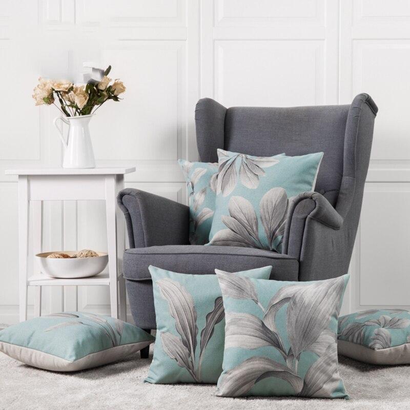 Wholes Linen Pillow Cover Cushion Vintage Light Blue Grey Leaves Home Decorative Case 45x45cm