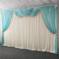 3MX6M ice silk white chiffon fabric wedding stage backdrop swags with tassels drape curtain for baby shower party decor