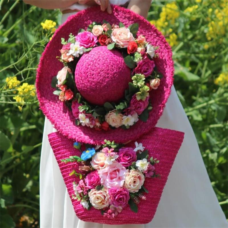 Nouvelle femme fleurs rotin tissé sac rose sac de paille loisirs vacances fourre-tout sac de plage pour sacs à main de luxe ensemble Design 2019