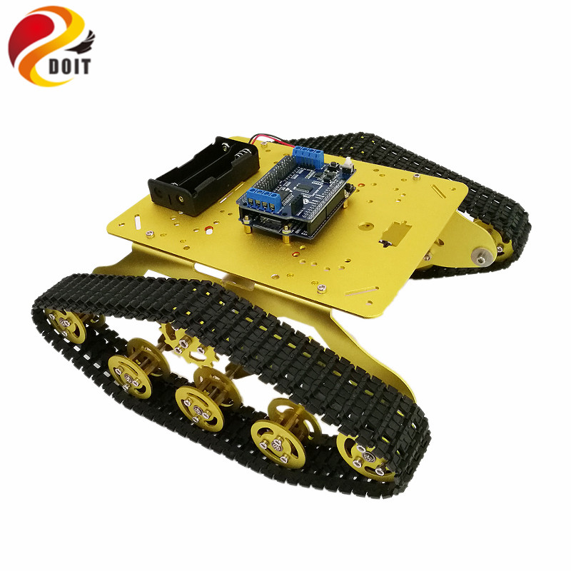 DOIT TS300 Shock Absorber WiFi Tank Chassis with ESPDuino Development Board+Motor Driver Board Compatible with Arduino DIY RC tengying l298n motor driver board for raspberry pi red