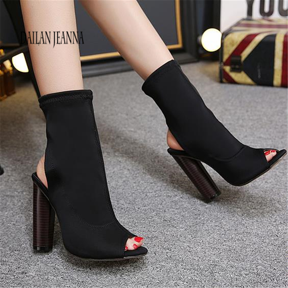 Womens sandals 2018 European star short boots, spring and summer hollow, fish mouth boots, elastic socks, boots and rough 40