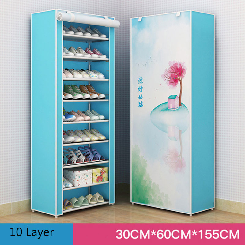 Multi-layer DIY Combination Dust-proof Cloth Shoe Cabinet Folding Fabric Shoes Rack Organizer Simple Shoe Storage Cabinet 5