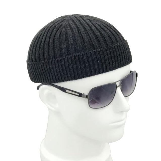 33fcbc6740e37 Retro Navy Fashion Warm Beanie Skullcap Adult Men Knitted Skullcap Casual  Short Cotton Thread Hip Hop