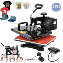 цена на Ship from EU! Advanced 8 In 1 Combo Heat Press Transfer Machine Sublimation Heat Press For Plate Mug Cap T-Shirt Phone case