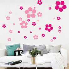 Mode Removable indah bunga wall sticker anak Perlindungan Lingkungan DIY Wall Stiker living room bedroom decor(China)