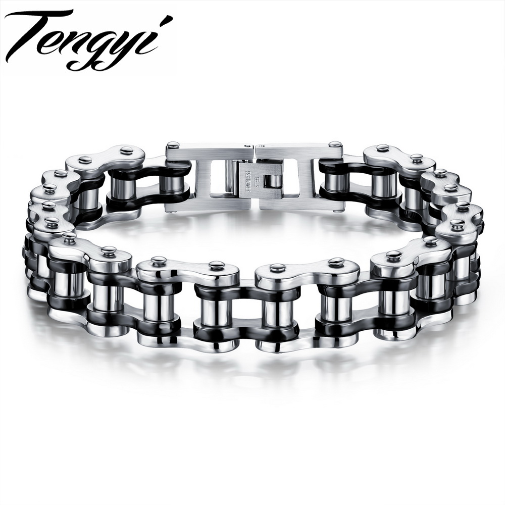 TENGYI Classical Bicycle Motorcycle Chain Bracelet Punk Style 316L Stainless Steel Bracelets Bangles For Men Jewelry