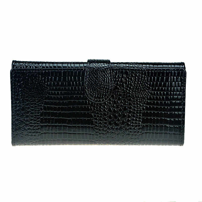 Pattern Crocodile Wallet Women Leather Wallet Trifold Long Patent Leather Women Purse Zipper Female Coin Bag Wallet