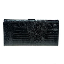 Pattern Crocodile Wallet Women Leather Trifold Long Patent Purse Zipper Female Coin Bag