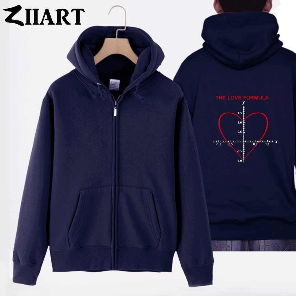 Cinta Rumus Persamaan Matematika untuk Pasangan Hati Pakaian Gadis Wanita Perempuan Kapas Penuh Zip Berkerudung Mantel Jaket