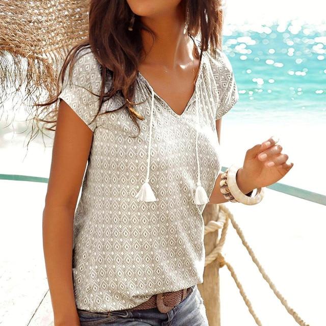 Women t shirt Fashion Print Top Beach Summer Shirt Holiday t-shirt women Casual Summer tee shirt femme