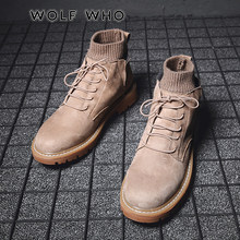 WOLF DIE 2019 Hot Koop Mannen Schoenen Merk Herfst Winter Mannen Laarzen Lace up Warm Mannen Casual Schoenen Mode Sneakers buty meskie X-032(China)