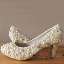 Free Shipping Bridesmaid Shoes Lady Rhinestone Ivory Pearl High Heels Beautiful Bridal Wedding Dress Shoes