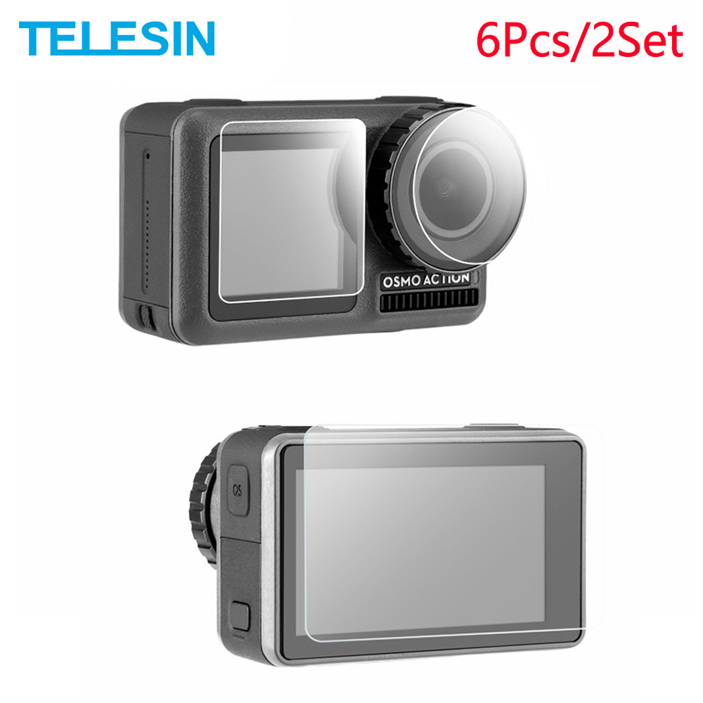 TELESIN 6Pcs Tempered Glass Screen & Lens Protective Film Cover For DJI OSMO Action Sport Camera