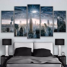 Wall Art Canvas Painting Modular Picture Home Decoration Poster 5 Panel New York City For Living Room Modern Printing Type the morning of city london new york vintage poster art canvas painting wall picture print modern home room decoration unframed