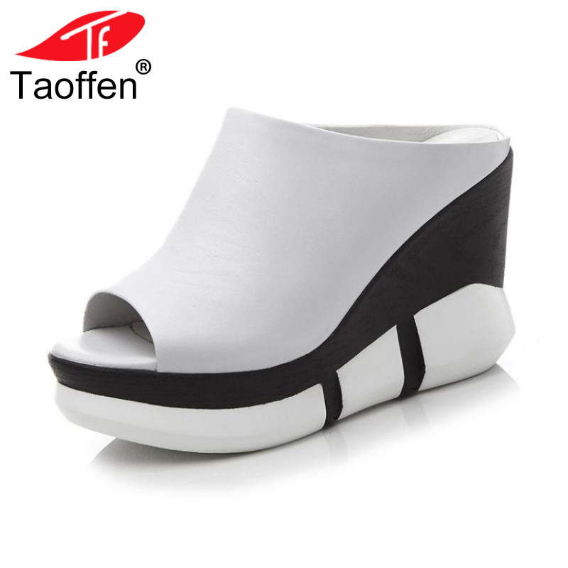 TAOFFEN Women High Wedges Sandals Real Leather Fashion Slippers Peep Toe Shoes Women Platform Daily Heel Footwear Size 34-39 taoffen women high heel sandals open toe pleated concise slippers solid color shoes women footwear summer party size 34 39
