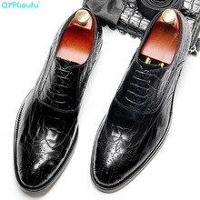 QYFCIOUFU Handmade Designer Luxury Wedding Formal crocodile shoes Business Mens dress Genuine Leather Derby oxford