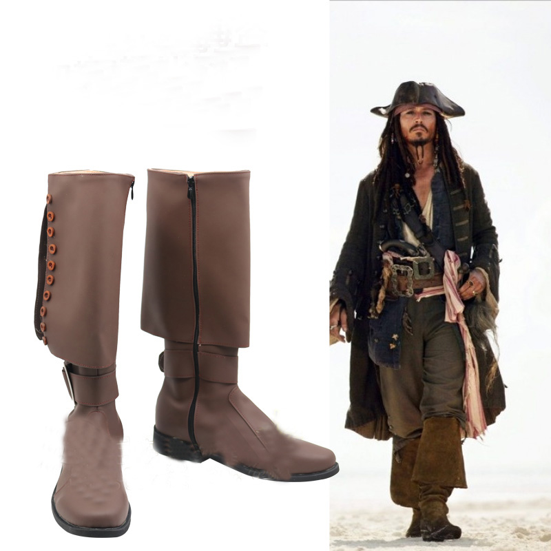 Pirates of the Caribbean Pirate Captain Jack Sparrow Leather Cosplay Shoes Boots Halloween Carnival Party Costume