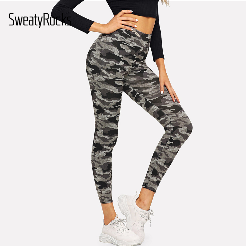SweatyRocks Camo Print Skinny   Leggings   Active Wear Camouflage   Leggings   2018 Workout Autumn Fitness Womens Pants And Trousers