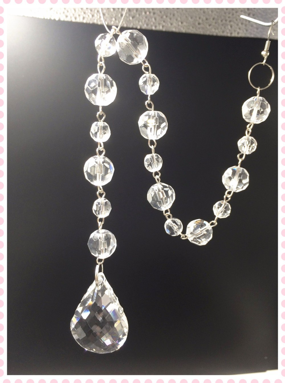 180Chains Crystal Chandelier Parts 30cm Faceted Ball Strand Garland + 38mm  Pendant Crystal Chain Room Chains