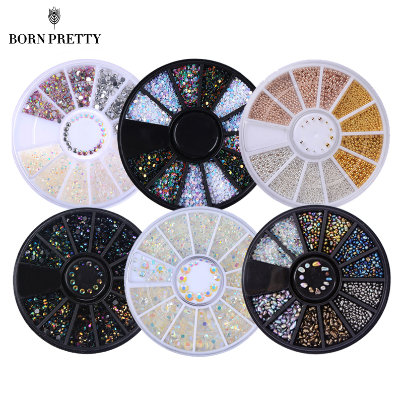 1 Boks Farvefulde Shinning Nail Rhinestones Skarpe Flat Bottom Studs 3D Nail Decor Manicure Nail Art Decoration In Wheel