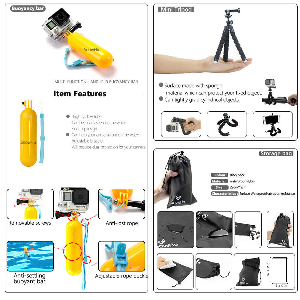 SnowHu for Gopro Accessories Set For Gopro hero 7 6 5 Waterproof case Protection Frame monopod for Go pro 7/6/5 GS73