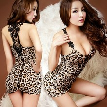 Sexy short skirt sexy lingerie  leopard print sexy underwear pants transparent tights sleepwear OL lenceria