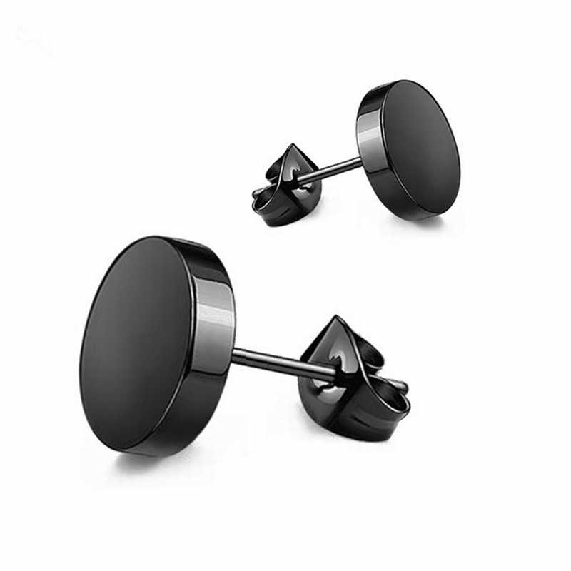 Cheap 1pc Wild Fashion Hot Round Black Titanium Stud Earrings Dumbbell Stainless Steel Earrings Korean Women Men Wholesale Gift-in Stud Earrings from Jewelry & Accessories on AliExpress