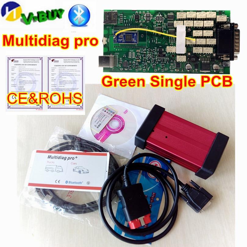 New Arrival Single PCB Multidiag MVDiag 2016R1+ Keygen Bluetooth TCS Pro OBD2 Diagnostic Scanner Tool for Cars/Trucks
