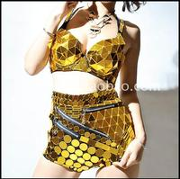 Gold Mirror costumes Stage clothes for singers Hip Hop dance costumes Bar dancer