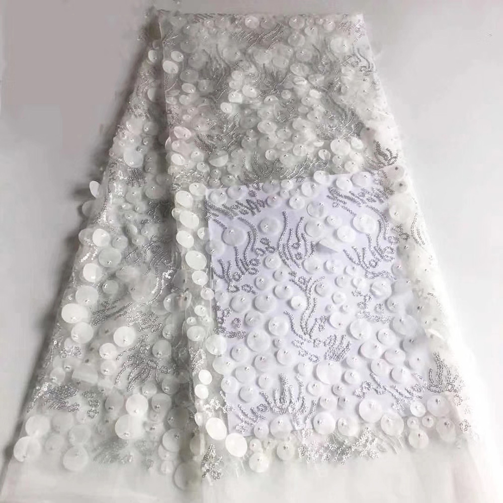 African fabric white nigerian lace fabrics 3d wedding lace 2019 high quality lace embroidered mesh fabric