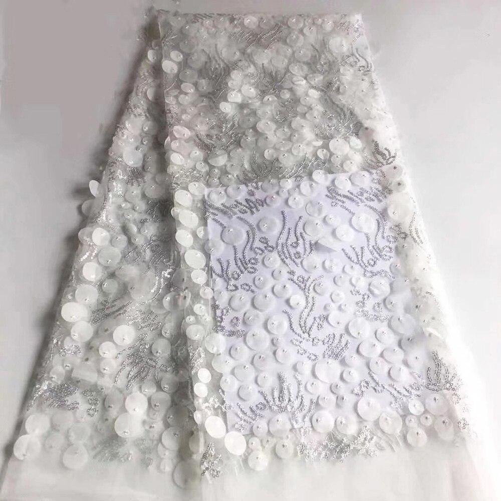 Tissu africain blanc nigérian dentelle tissus 3d mariage dentelle 2019 haute qualité dentelle brodé maille tissu pour robe de soirée-in Dentelle from Maison & Animalerie    1
