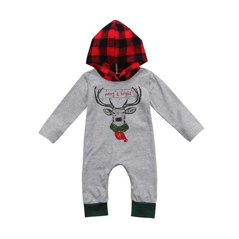 Big Sale Newborn Baby Boy Girl Winter Autumn Christmas Cartoon Long Sleeve Hooded Bodysuit Outfits Clothes 0-24M