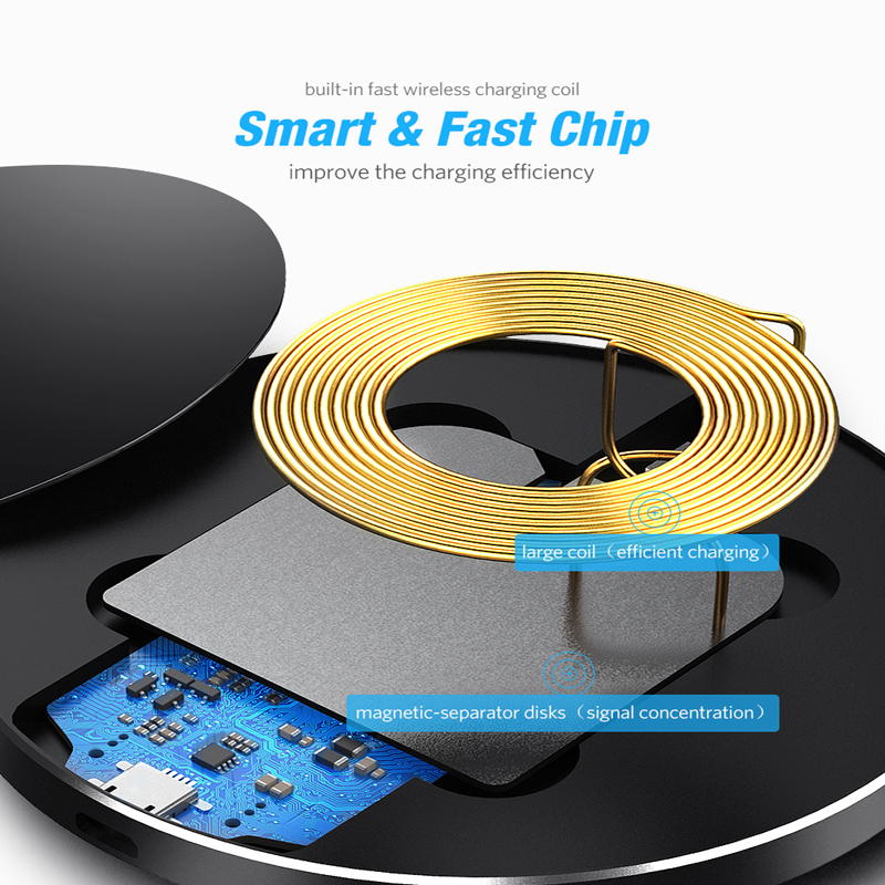 Image 3 - DCAE Qi Wireless Charger For iPhone 11 8 X XR XS Max QC 3.0 10W Fast Wireless Charging for Samsung S9 Note 9 S10 USB Charger Pad-in Mobile Phone Chargers from Cellphones & Telecommunications