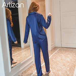 Image 2 - Artizan Slik Satin Pyjamas für Frauen Lange Hülse Taste Unten Pyjama Set Nachtwäsche 2Pcs
