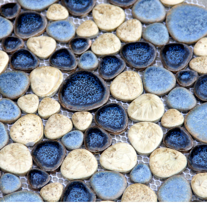Blau Mediterranen stil cobble stein keramik mosaik fliesen für küche ...